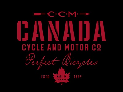 CCM Perfect Bicycles vintage red black apparel chain bicycle bike canada ccm logo hockey