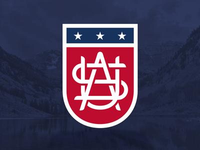 USA Shield Monogram america stripes stars apparel sports logo monogram shield flag usa