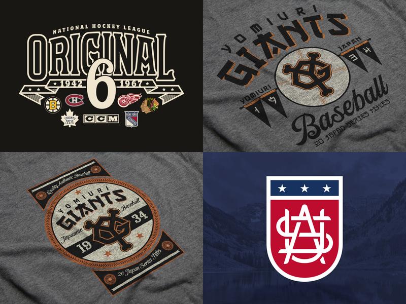 Top 4 Dribbble 2018 monogram vector vintage sports illustration t-shirt type apparel nhl hockey logo