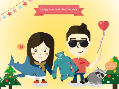 Anniversary avatar illustration warm couple lover valentine anniversary new year christmas