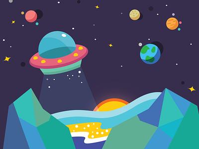 UFO Raiding flat ufo spaceship adorable cute design illustration