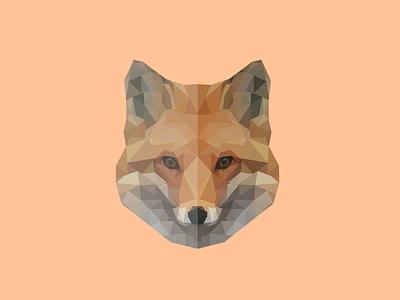Fox brown orange fox animal logo low poly polygon