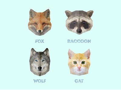 Animals fox wolf raccoon cat logo animal poly low poly polygons