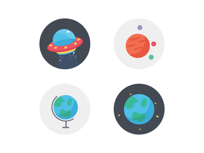 Space fantasy earth alien space travel flat icons illustration