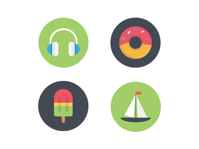 My favorite things summer spring sailing ice cream popsicles donuts music icon set icons