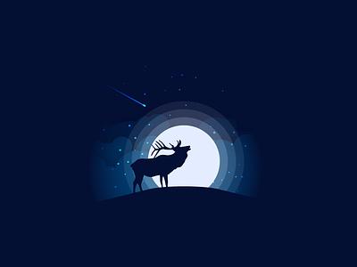 Night Elk animal silhouette landscape illustration