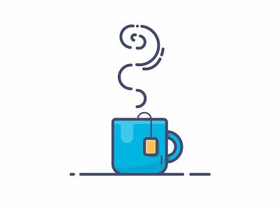 Friday Afternoon tea cup cup of tea blue illustraor icon tea mug line art illustration
