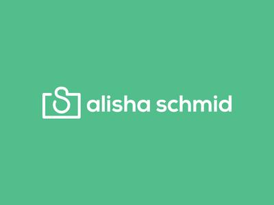 Alisha Schmid Logo logo typography line photography type icon mark stroke mint green photographer branding