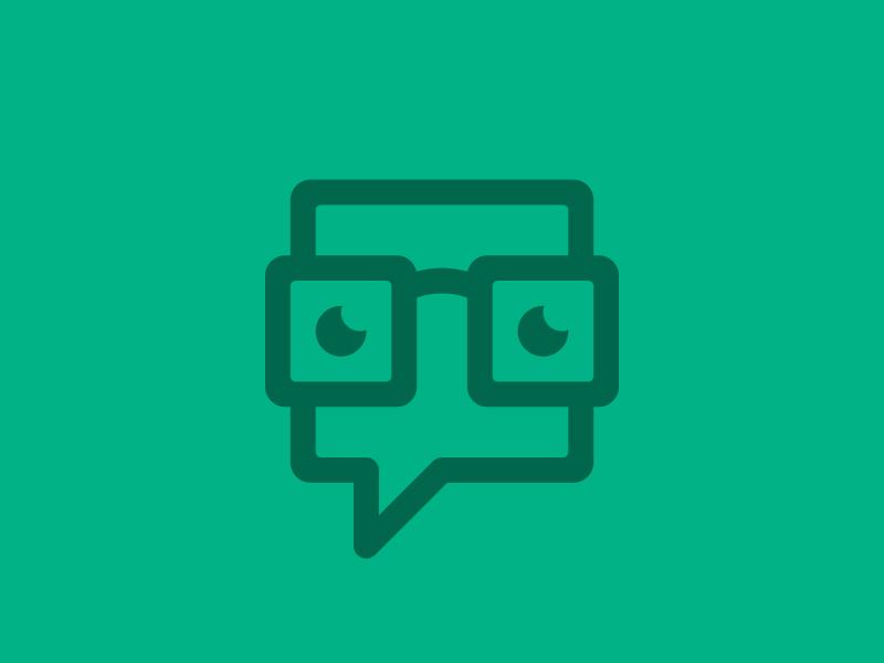 Nerddiary Logo Work in Progress icon logo mark stroke line branding green geek glasses bubble eyes
