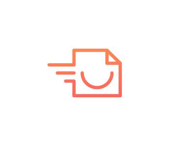 Unused Logo Mark smile paper print fast gradient warm orange red round fold outline