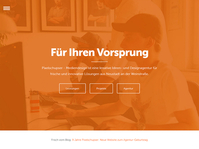 New Agency Website redesign relaunch web website minimal simple flat background image orange museo