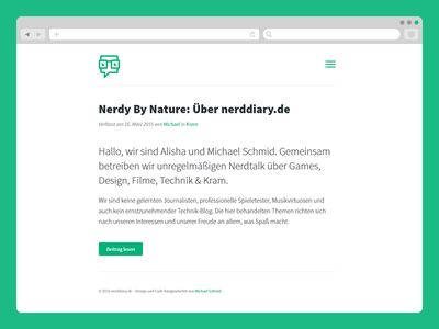 nerddiary.de redesign german simple minimal clean website web news blog glasses geek nerd
