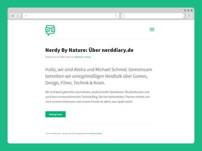 nerddiary.de redesign german simple minimal clean website web news blog glasses geek nerd