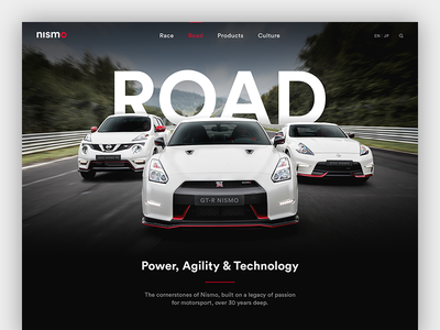 Nismo Website Redesign Concept racing webdesign responsive minimal clean car automotive concept redesign website nissan nismo