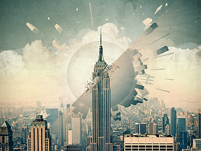 Not the End city new york destruction empire state vintage poster texture space