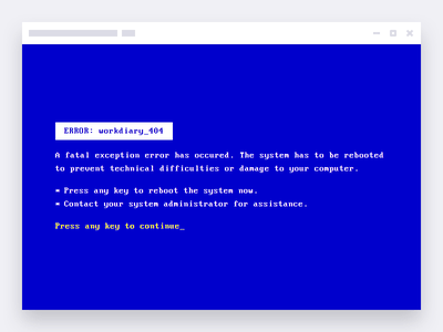workdiary.de 404 Error web mono bitmap pixel glitch kernel terminal command cmd bluescreen error 404
