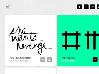 Workdiary Soundsystem 2012 clean bold mono web thumbnails grid icons music audio sound portfolio texture minimal