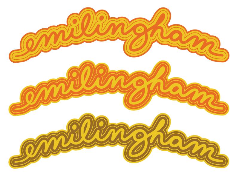 Emilingham Retired Cursive Logo cursive script logo design branding