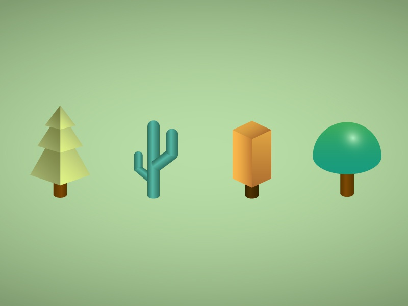 Trees cactus trees tree illustration gradient vector