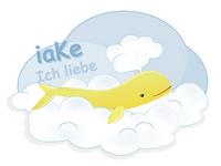 Whale swims through cloud.