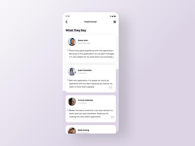 DailyUI 039 : Testimonials web design user interface design designers ui ux design design uidesign app apps mobile apps design app testimonial testimonials daily ui dailyui