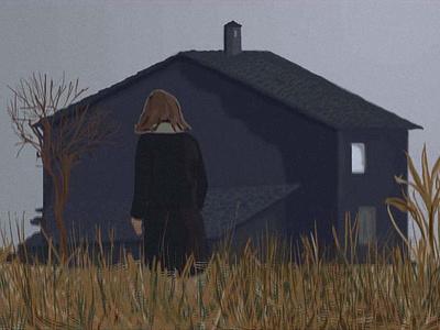 Дом открытка одиночество осень девочка дом кино цифровая живопись фотошоп design