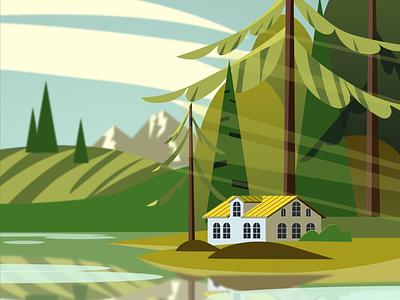 Дом у озера природа открытка лес озеро дом branding logo vector illustration ai design