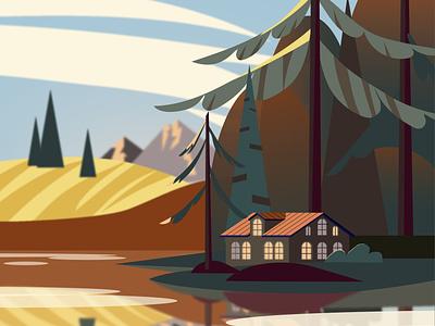 дом у озера осень лес природа обложка озеро дом открытка vector illustration ai design