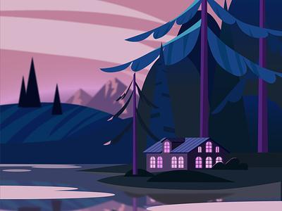 landscape evening векторная графика горы лес природа озеро вечер обложка дом открытка illustration ai design