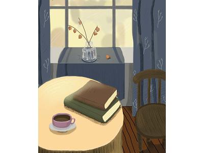 Натюрморт книжная иллюстрация интерьер обложка открытка свет дом уют книга цветы цифровая живопись фотошоп illustration design
