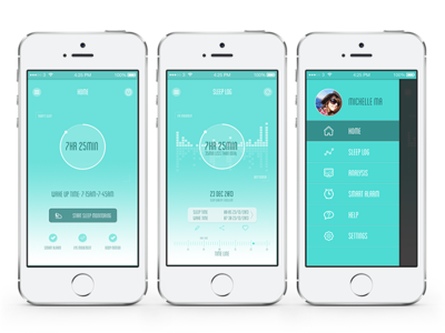 NapQ Sleep Monitor interaction design ui app