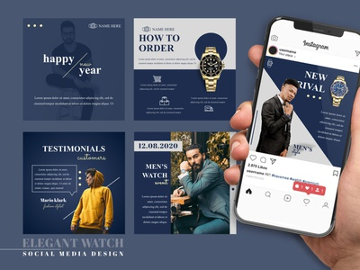 Social Media Design - Elegant Watch branding advertising elegant watch graphic design social media design social media