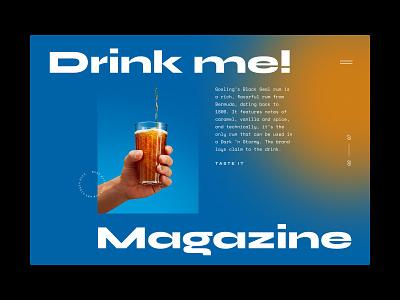 Drink me! Magazine features editorial bar cocktail bar cocktail carousel hero slider home layout magazine typography landing web website ux ui design