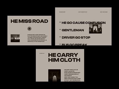 HE MISS ROAD* portfolio whitespace photography minimal modern bold typography hero home layout landing web website ux ui design