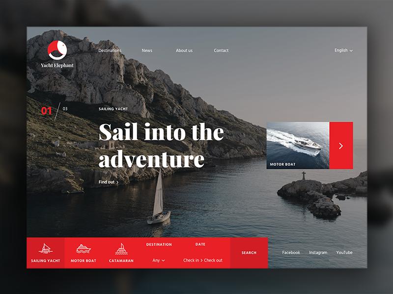 Yacht Elephant | Website digital home flat landing app logo travel branding tourism sea boat yacht sailing agency website designer ux ui design web