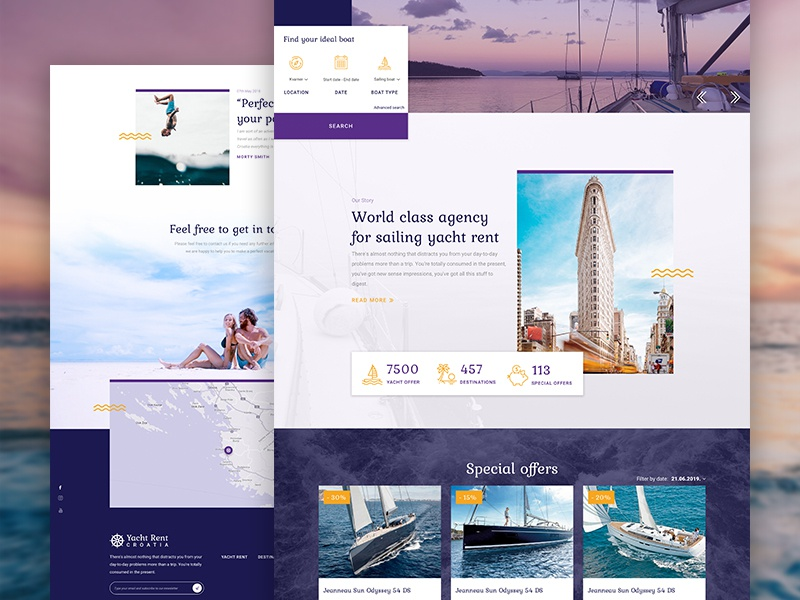 Landing Page for Yacht Rent Croatia booking yacht website web ux ui typography travel tourism responsive product logo landing home hero designer design branding app agency