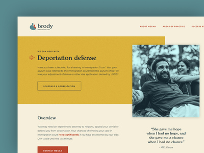 Areas of Practice landing page branding website lawyer immigration