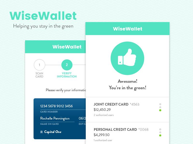 WiseWallet credit card mobile app banking money hackathon ux product design