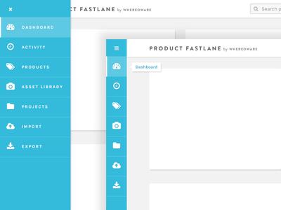 Sidebar states pim dashboard karla fontawesome hover tooltip menu sidebar navigation web app ux product design