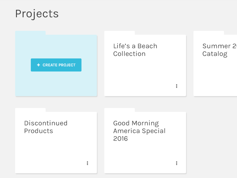 Introducing Projects b2b ecommerce product button folder projects pims pim