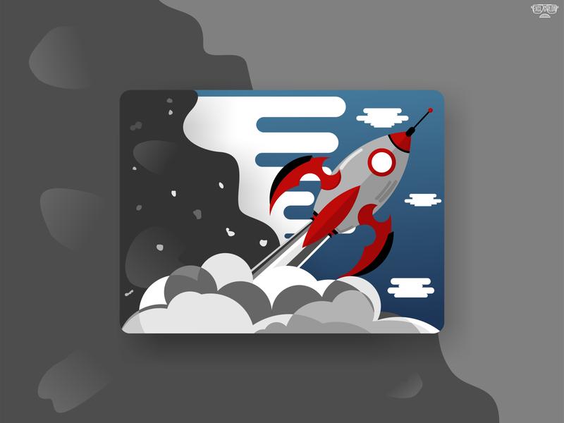 rocket flat illustration flatdesign exclgrldn flat vector design flat design sky rocket black art coreldraw adobe illustrator