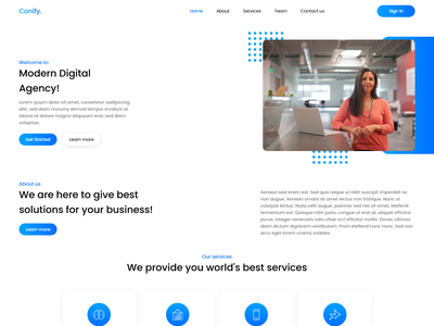 Conify - Modern Digital Agency Web UI/UX Design website web design landingpage seo marketing seo marketing digital agency agency user interface design ux ui design ui graphic design design
