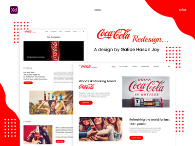 Coca Cola Website Redesign - UI/UX Template user interface design ux ui design graphic design website coca cola redesign web design ui design company corporate redesign coca cola brand