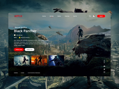 Netflix UI Redesign Concept hollywood marvel black panther remake concept redesign netflix branding web design user interface design ui ux ui design graphic design design