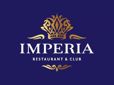 Imperia wings restaurant club night dances girl ornament crown logo imperia