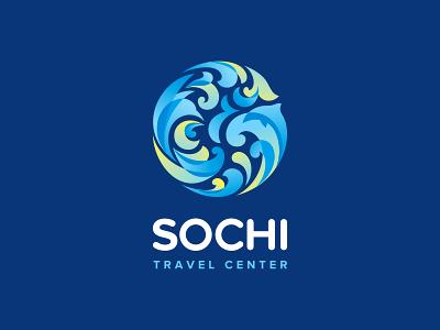 Sochi Travel Center logo flower wave humming-bird rest beach dolphin center travel sochi
