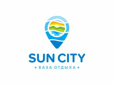 Sun City city mountains sea map logo beach rest sun