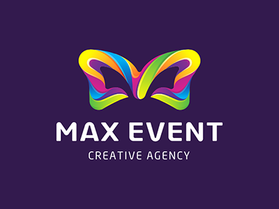 Max Event holiday festival design letter m butterfly bow logo event max