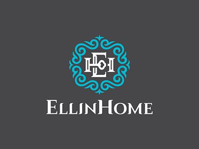 EllinHome estate greece design eh letter key ornament logo home ellin