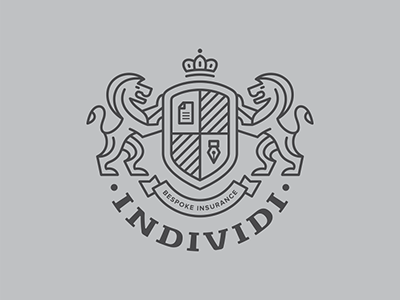 Individi individi logo insurance broker design lion crown pen paper board
